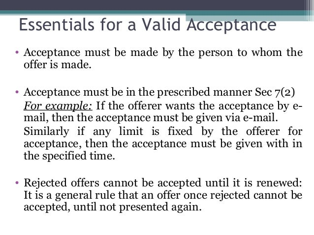 essentials of a valid acceptance