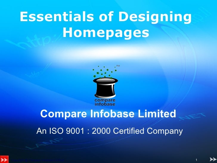 Compare Infobase Limited   An ISO 9001 : 2000 Certified Company   Essentials of Designing Homepages