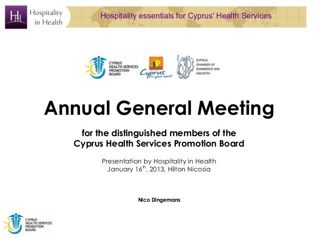 Hospitality essentials for Cyprus Health ServicesAnnual General Meeting   for the distinguished members of the  Cyprus Hea...