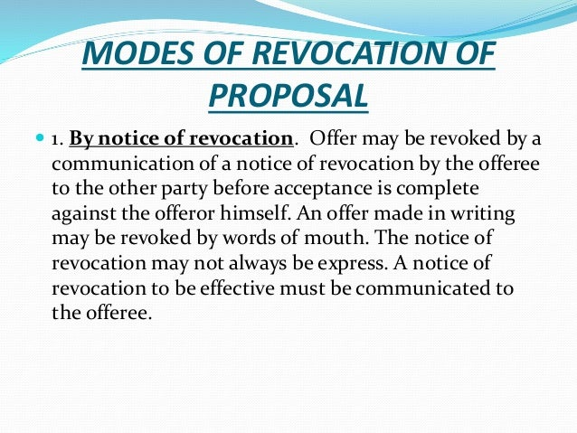 Essentials of proposals and revocation 18 modes of revocation stopboris Choice Image