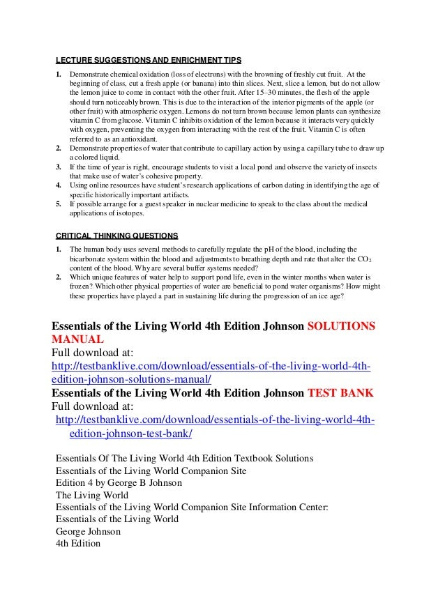 Essentials of the living world 4th edition johnson solutions manual.