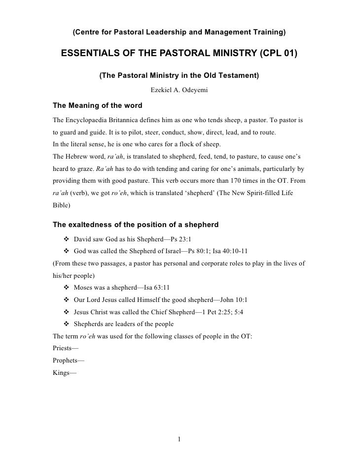 (Centre for Pastoral Leadership and Management Training)     ESSENTIALS OF THE PASTORAL MINISTRY (CPL 01)                 ...