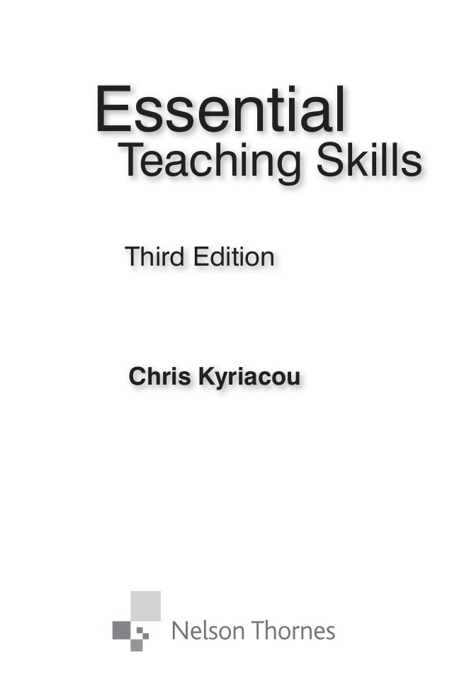 Essential teaching skills chris kyriacou