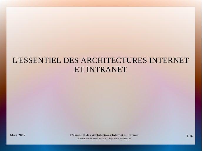 LESSENTIEL DES ARCHITECTURES INTERNET               ET INTRANETMars 2012    Lessentiel des Architectures Internet et Intra...