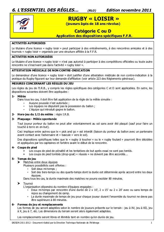 6. L'ESSENTIEL DES RÈGLES…                                                 (RLO)          Edition novembre 2011           ...