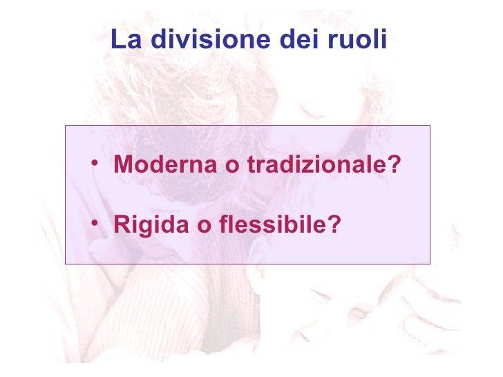 <ul><li>Moderna o tradizionale? </li></ul><ul><li>Rigida o flessibile? </li></ul>La divisione dei ruoli