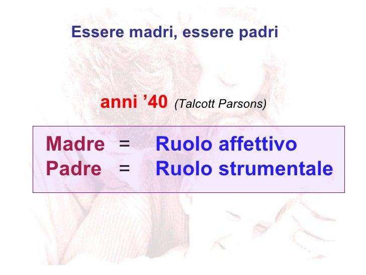 Madre = Ruolo affettivo Padre = Ruolo strumentale Essere madri, essere padri anni '40   (Talcott Parsons)
