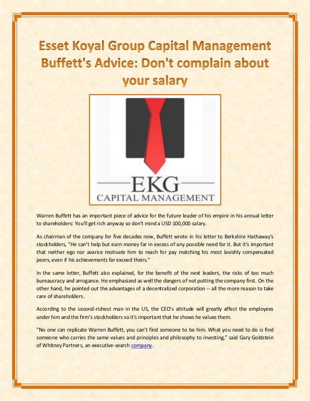 Esset Koyal Group Capital Management Buffett's Advice: Don't complain…