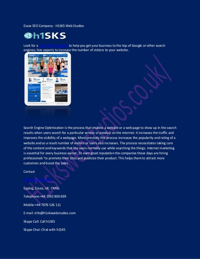 Essex SEO Company - H1SKS Web Studios  Look for a Essex SEO Company to help you get your business to the top of Google or ...