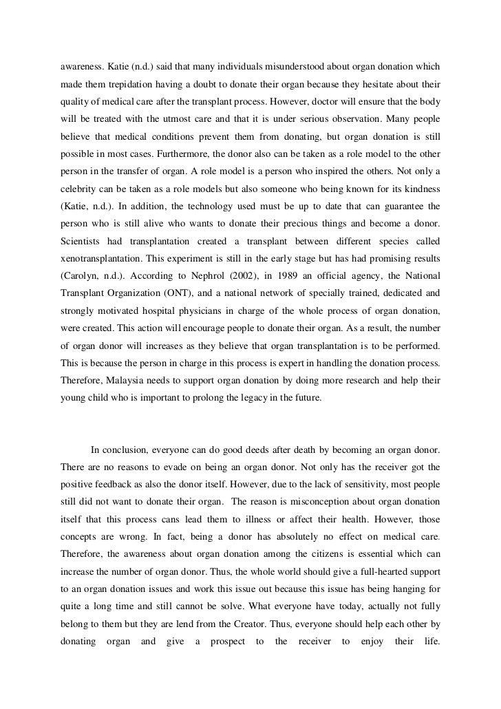organ donation essay conclusion