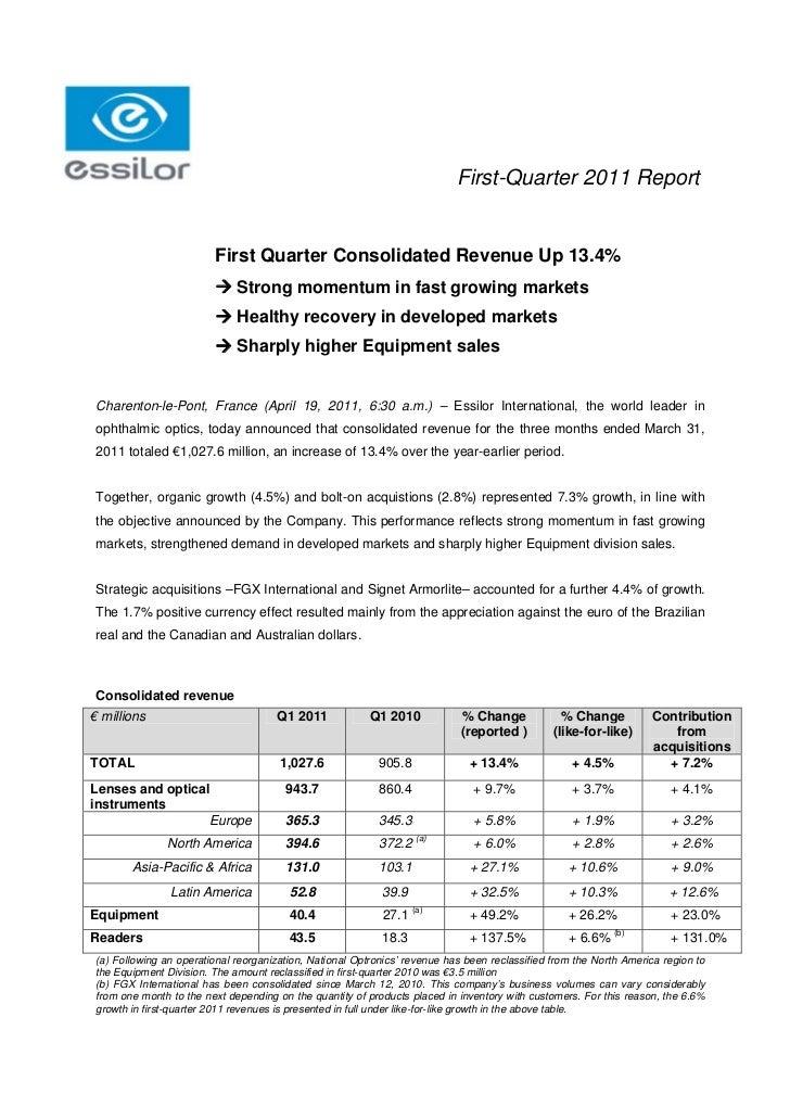 First-Quarter 2011 Report                        First Quarter Consolidated Revenue Up 13.4%                         Stro...
