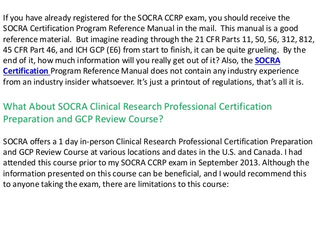 socra certification program reference manual