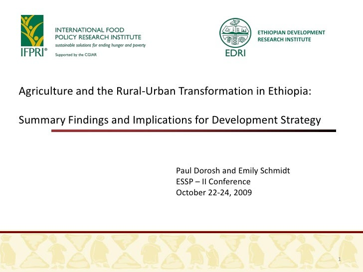 ETHIOPIAN DEVELOPMENT                                                    RESEARCH INSTITUTE     Agriculture and the Rural-...