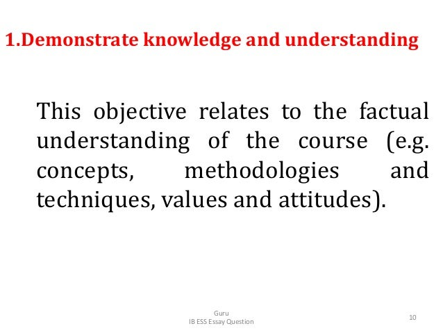 1.Demonstrate knowledge and understanding This objective relates to the factual understanding of the course (e.g. concepts...