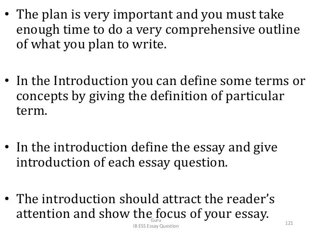 • The plan is very important and you must take enough time to do a very comprehensive outline of what you plan to write. •...