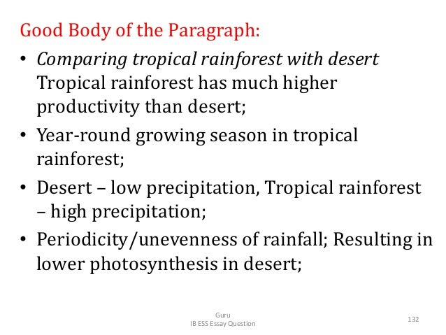 Good Body of the Paragraph: • Comparing tropical rainforest with desert Tropical rainforest has much higher productivity t...