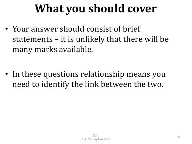 What you should cover • Your answer should consist of brief statements – it is unlikely that there will be many marks avai...