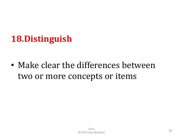 18.Distinguish • Make clear the differences between two or more concepts or items Guru IB ESS Essay Question 63