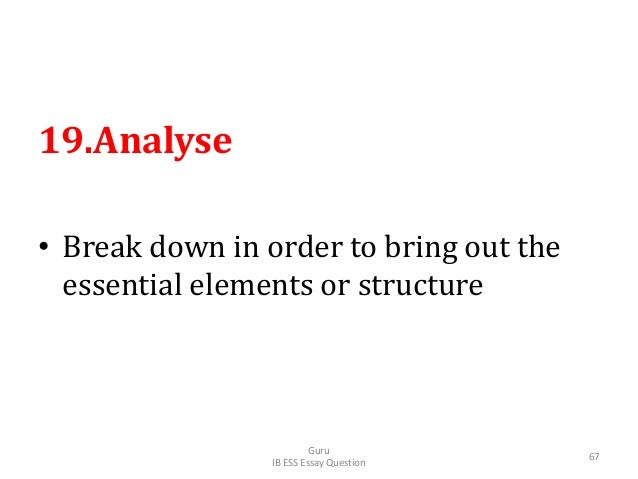 19.Analyse • Break down in order to bring out the essential elements or structure Guru IB ESS Essay Question 67