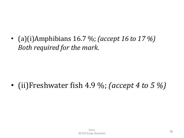 • (a)(i)Amphibians 16.7 %; (accept 16 to 17 %) Both required for the mark. • (ii)Freshwater fish 4.9 %; (accept 4 to 5 %) ...