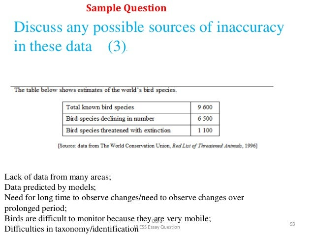 Discuss any possible sources of inaccuracy in these data (3). Lack of data from many areas; Data predicted by models; Need...