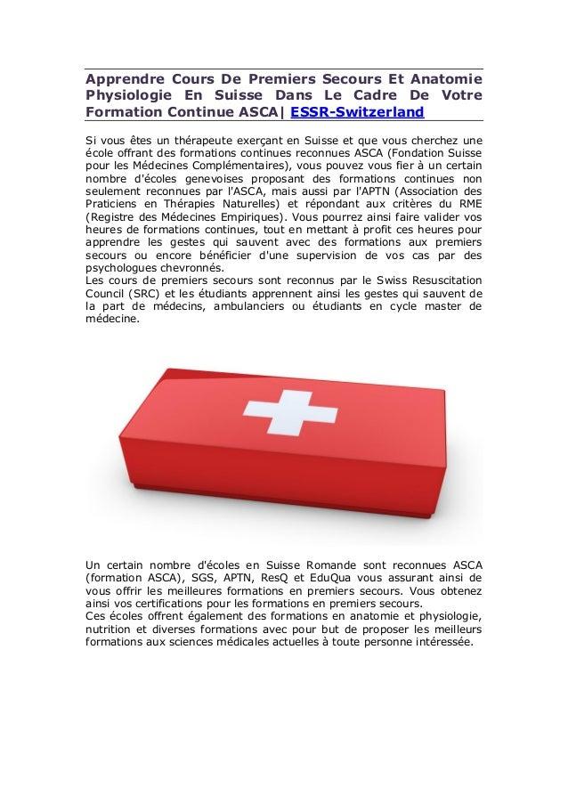 Apprendre Cours De Premiers Secours Et Anatomie Physiologie En Suisse Dans Le Cadre De Votre Formation Continue ASCA| ESSR...