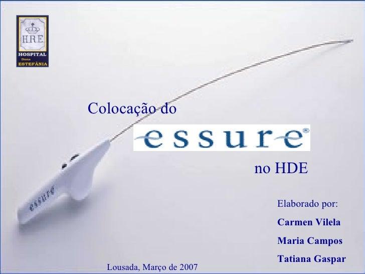 Elaborado por: Carmen Vilela Maria Campos Tatiana Gaspar Colocação do no HDE Lousada, Março de 2007