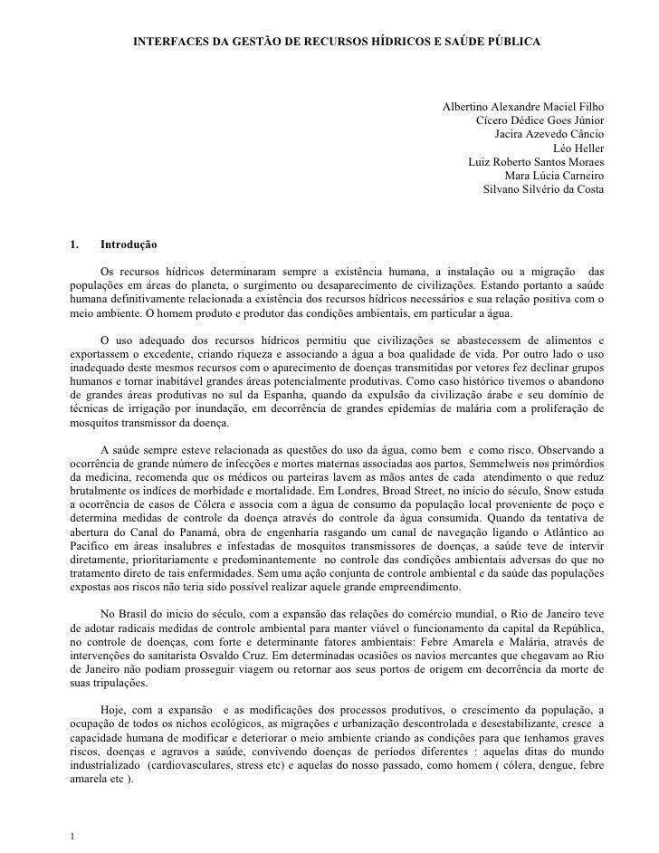 INTERFACES DA GESTÃO DE RECURSOS HÍDRICOS E SAÚDE PÚBLICA                                                                 ...