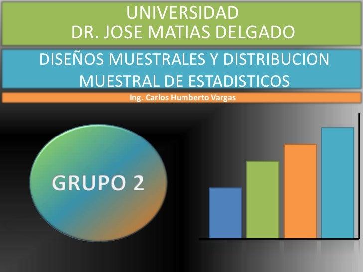 UNIVERSIDAD   DR. JOSE MATIAS DELGADODISEÑOS MUESTRALES Y DISTRIBUCION     MUESTRAL DE ESTADISTICOS          Ing. Carlos H...