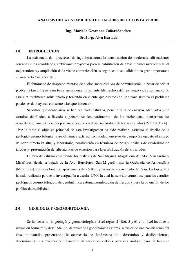 ANÁLISIS DE LA ESTABILIDAD DE TALUDES DE LA COSTA VERDE                                  Ing. Mariella Geovanna Cañari San...