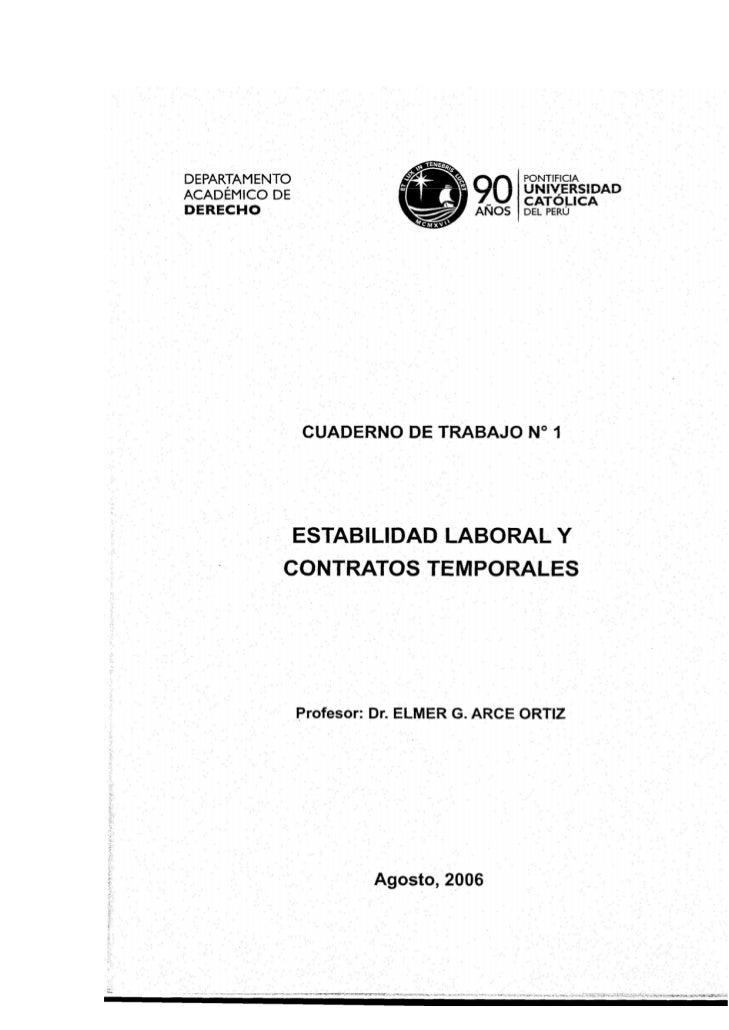 """Primer Cuaderno de Trabajo delDepartamento Académico de Derecho de la PUCP""""Estabilidad Laboral y Contratos Especiales""""© El..."""