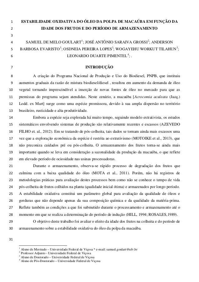 ESTABILIDADE OXIDATIVA DO ÓLEO DA POLPA DE MACAÚBA EM FUNÇÃO DA 1 IDADE DOS FRUTOS E DO PERÍODO DE ARMAZENAMENTO 2  3  SAM...