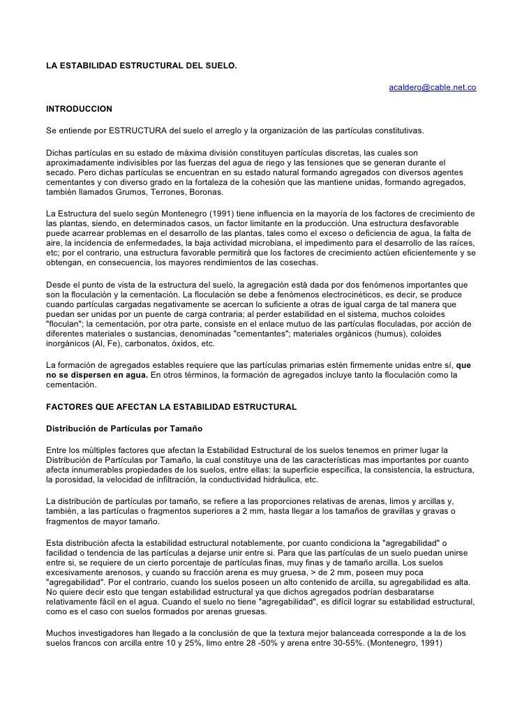 LA ESTABILIDAD ESTRUCTURAL DEL SUELO.                                                                                     ...
