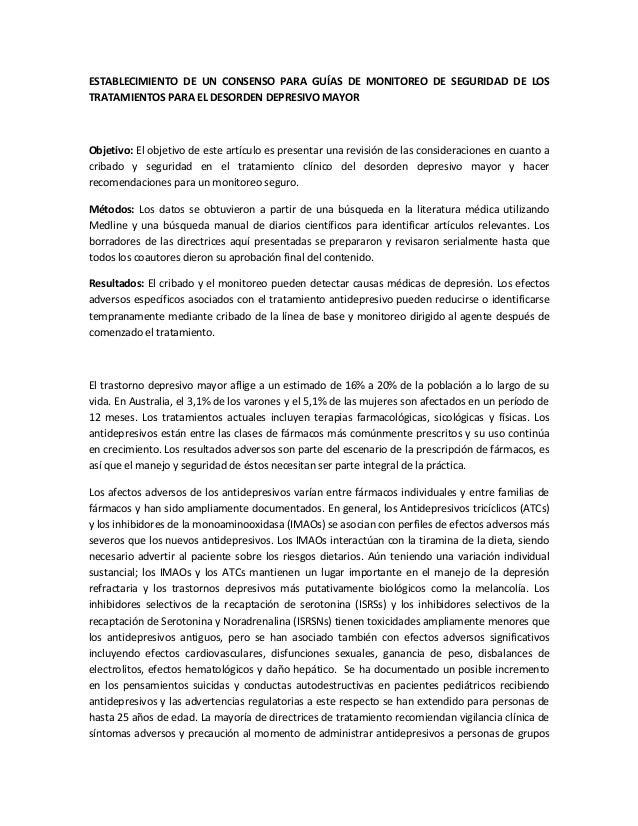 ESTABLECIMIENTO DE UN CONSENSO PARA GUÍAS DE MONITOREO DE SEGURIDAD DE LOS TRATAMIENTOS PARA EL DESORDEN DEPRESIVO MAYOR  ...
