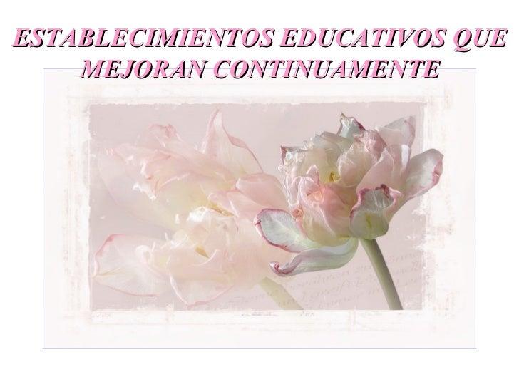ESTABLECIMIENTOS EDUCATIVOS QUE    MEJORAN CONTINUAMENTE