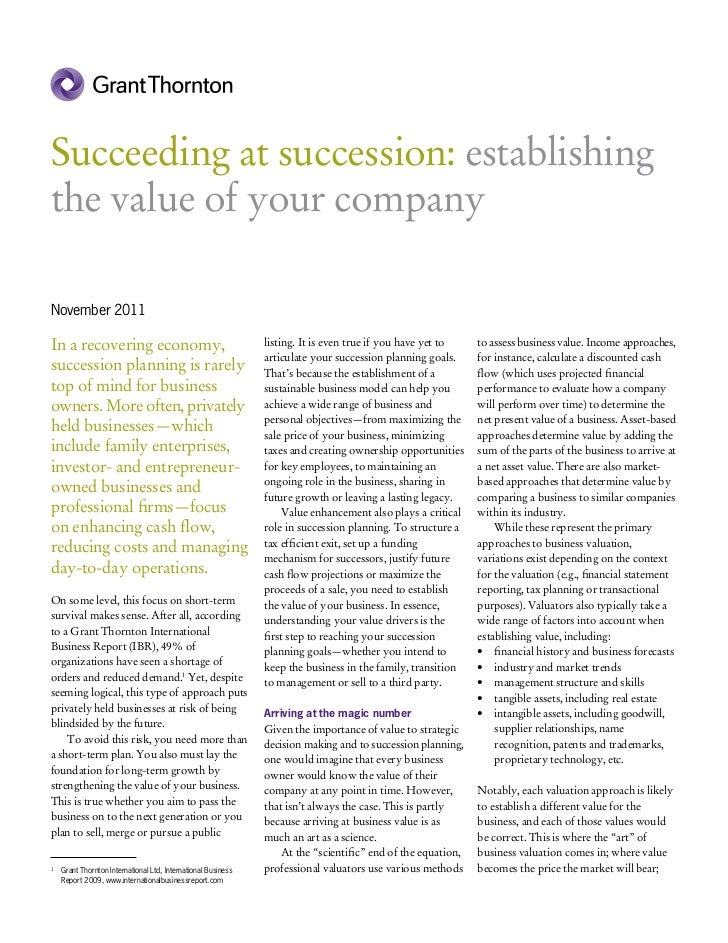 Succeeding at succession: establishingthe value of your companyNovember 2011In a recovering economy,                      ...