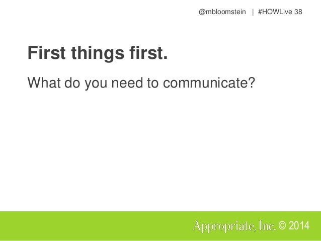 @mbloomstein | #HOWLive 41 © 2014 What's a message architecture? A hierarchy of communication goals that reflects a common...