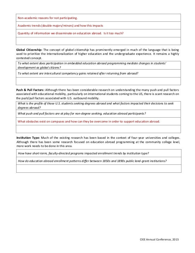 Establishing A Research Agenda For U.S. Education Abroad - Worksheet