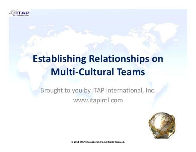 EstablishingRelationshipson Multi‐CulturalTeams BroughttoyoubyITAPInternational,Inc. www.itapintl.com  ©2013I...