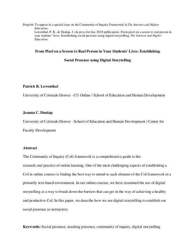Preprint: To appear in a special issue on the Community of Inquiry Framework in The Internet and Higher  Education.  Lowen...