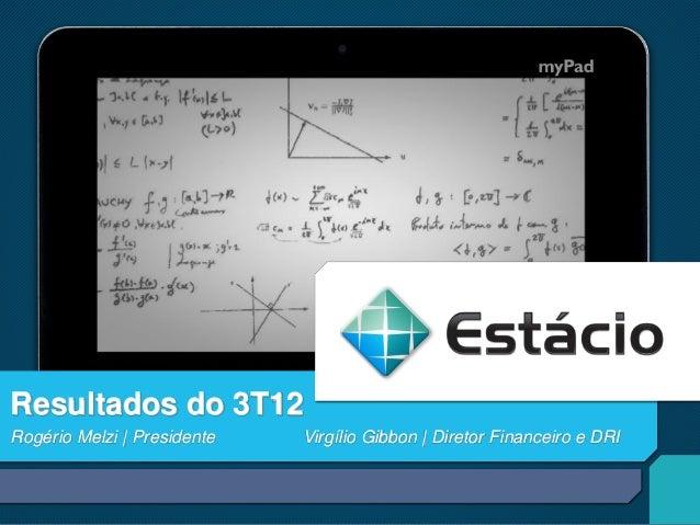 Resultados do 3T12Rogério Melzi | Presidente   Virgílio Gibbon | Diretor Financeiro e DRI