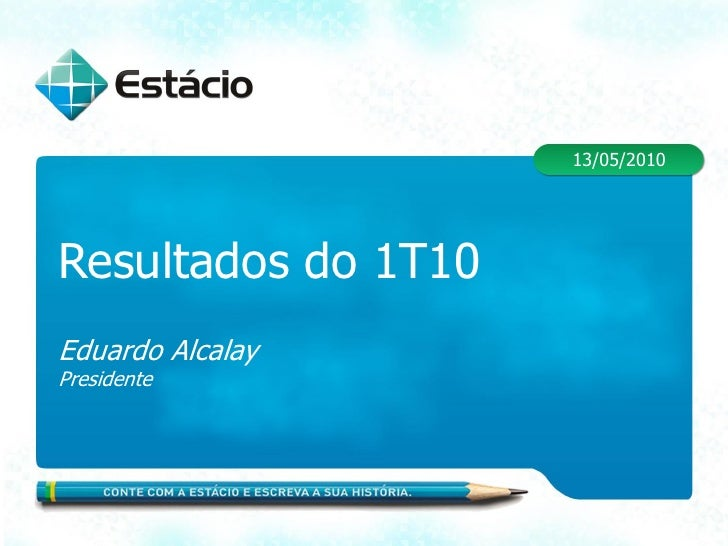 13/05/2010     Resultados do 1T10 Eduardo Alcalay Presidente