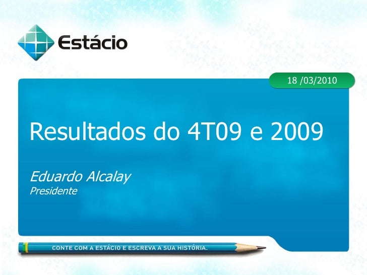 18 /03/2010     Resultados do 4T09 e 2009 Eduardo Alcalay Presidente