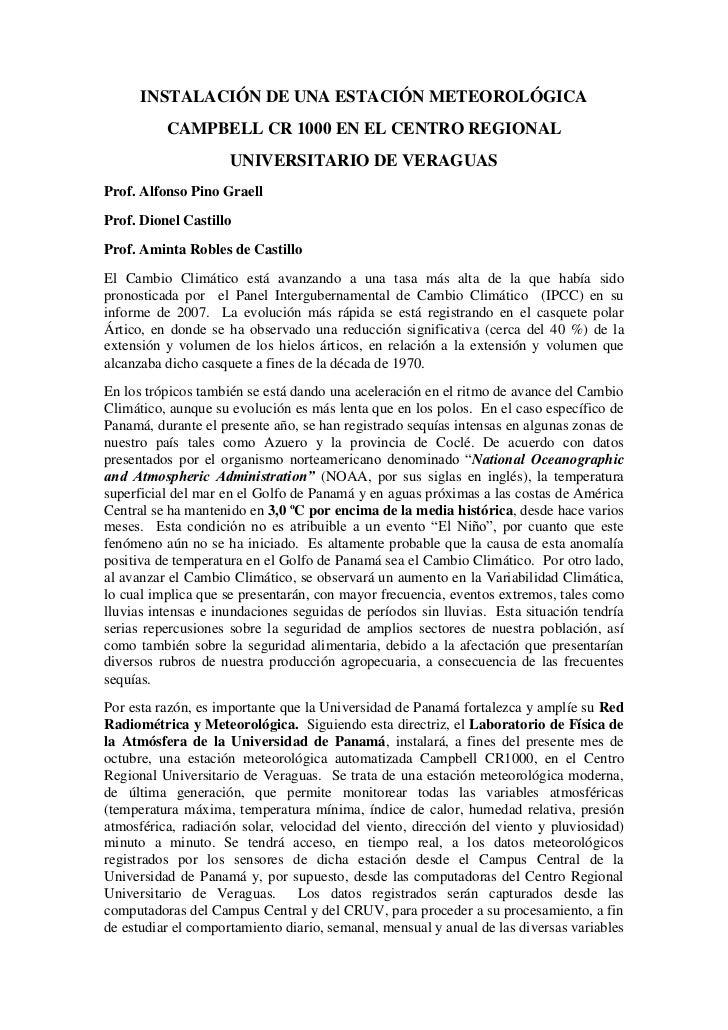 INSTALACIÓN DE UNA ESTACIÓN METEOROLÓGICA          CAMPBELL CR 1000 EN EL CENTRO REGIONAL                     UNIVERSITARI...