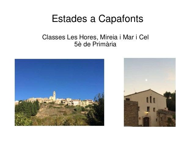 Estades a Capafonts Classes Les Hores, Mireia i Mar i Cel 5� de Prim�ria
