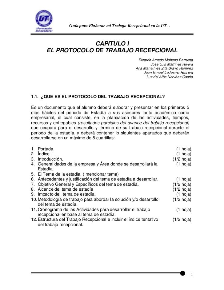 Guía para Elaborar mi Trabajo Recepcional en la UT...                     CAPITULO I        EL PROTOCOLO DE TRABAJO RECEPC...