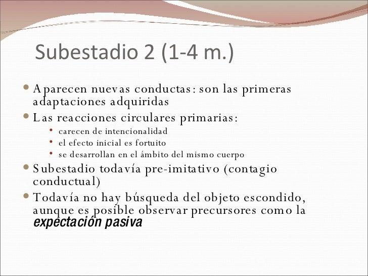 Subestadio 2 (1-4 m.) <ul><li>Aparecen nuevas conductas: son las primeras adaptaciones adquiridas </li></ul><ul><li>Las re...
