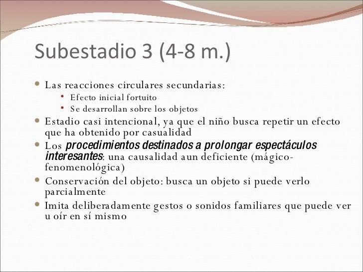 Subestadio 3 (4-8 m.) <ul><li>Las reacciones circulares secundarias: </li></ul><ul><ul><ul><li>Efecto inicial fortuito </l...