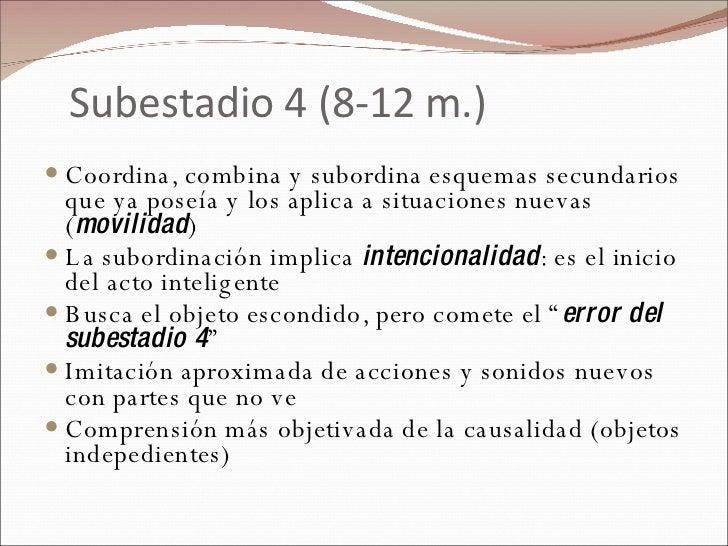 Subestadio 4 (8-12 m.) <ul><li>Coordina, combina y subordina esquemas secundarios que ya poseía y los aplica a situaciones...
