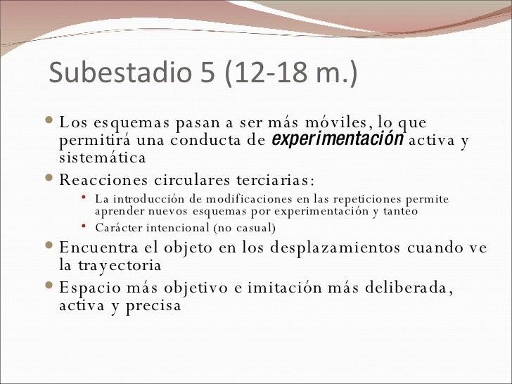 Subestadio 5 (12-18 m.) <ul><li>Los esquemas pasan a ser más móviles, lo que permitirá una conducta de  experimentación  a...